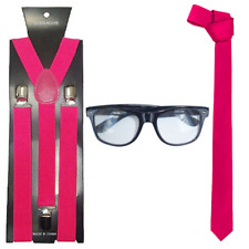Ladies Hen Party Glam Geek Instant Kit Pink School Girl Fancy Dress Accessory