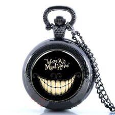 "Alice n Wonderland ""We're All Mad Here"" Mini Black Pocket Watch Necklace Pendant"