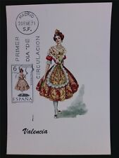 SPAIN MK 1971 TRAJES VALENCIA TRACHT COSTUME MAXIMUMKARTE MAXIMUM CARD MC c6096