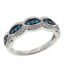 .25ctw Blue Diamond Sterling Silver Braided Band Ring Size 8 HSN SOLD OUT $120