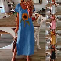 Women Summer Boho Print Long Maxi Dress O Neck Short Sleeve Beach Party Sundress