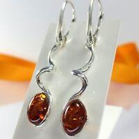 A215 Spiralförmige Ohrringe 925 Sterling Silber baltische Bernsteinschmuck Amber