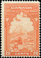 Mint Hinged Canada 20c F Scott #E3 1927 Special Delivery Stamp