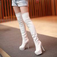 Lady Sexy High Stiletto Heel Over The Knee Thigh Boots Stylish Stretchy Shoes Sz
