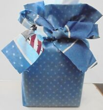 Fabric Tissue Box Cover for Square Tissue Box Kleenex Cover Blue Tiny Flowers
