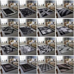 Modern Rug Black Grey Living Room Rug Bedroom Floor Rugs Small And Large Sizes