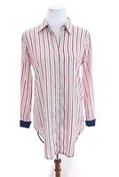 Philosophy Striped Button Up Front Tunic Shirt Top High Low Nautical Womens Sz S