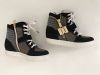 chaussures baskets compensées noir or Albano  37 tbe (B9)
