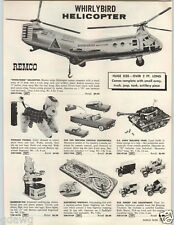 1962 PAPER AD Remco Whirlybird Helicopter Rescue Corps Toy US Army Bulldog Tank