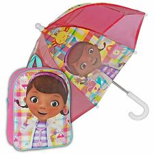 Doc McStuffins Combo Backpack Umbrella Girls School Bag Rucksack Gym PE Kit Boo