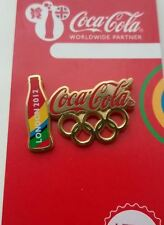 LONDON 2012 OLYMPICS COCA - COLA OLYMPIC RINGS AND BOTTLE PIN BADGE