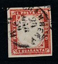 FRANCOBOLLI 1859 SARDEGNA 40 C. VERMIGLIO MATTONE CHAMBERY 24/3 Z/233