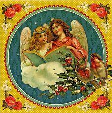 Engel mit Liederbuch Nostalgischer Adventskalender mit Umschlag Klappkarte 12441