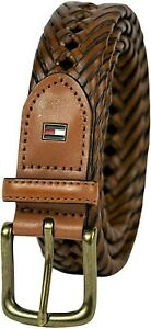 Tommy Hilfiger Men's 32MM Wide Braided Belt Tan