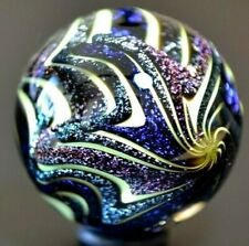 """HOT HOUSE GLASS MARBLE/1.520""""DICHROIC PSYCHEDELIC # 700-ROYAL BLUE,SILVER,VIOLET"""