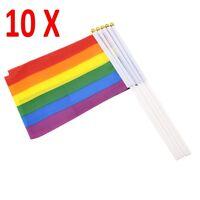 10 X Wholesale Rainbow LGBT Gay Pride Carnival Festival Hand Waving Small Flags