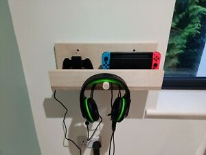 Nintendo Switch wall mounted shelf and hook birch plywood gaming customisable
