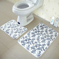 Bath Pedestal Mat Set of 2 Soft Cotton Toilet Non Slip Washable Floor Rugs Grey
