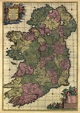 MP51 Vintage 1700's Historical Antique Old Latin Map Of Ireland Poster A1/A2/A3