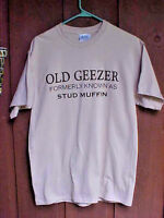 O Port & Co Mens Tee Shirt Size Medium Beige Old Geezer Round Neck Short Sleeve