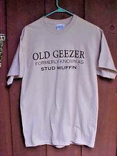 Mens Tee Shirt Size Medium O Port & Co Beige Old Geezer Round Neck Short Sleeve
