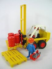 Vintage Playmobil Forklift #3506 with 2 Figurines, 3 Barrels and Toolbox/6 Tools