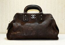 3000$ CHANEL brown quilted caviar leather CC logo big medium satchel doctor bag