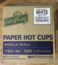 Castaway Paper Hot Cup Single Wall -White 118ml/ 4oz Carton