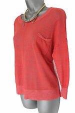 MONSOON Coral Thin Knit T-Shirt Blouse Top Casual Formal 3/4 Sleeves MEDIUM