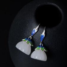 a pair cloisonne silver Xinjiang white jade lotus bead dangle earrings