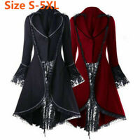 Ladies Steampunk Victorian Gothic Coat Lace Jacket Medieval Vintage Womens Dress