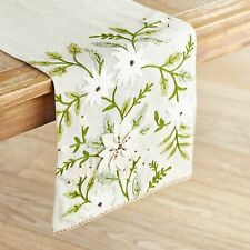 "Pier 1 52"" Country Woodland Flowers Christmas Table Runner Pinecone Floral Beige"