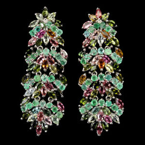 Unheated Marquise Multi-Color Tourmaline Emerald 925 Sterling Silver Earrings