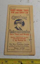 Vintage Quebec Historical Guide Canada New Frontenac Garage Ephemera Brochure