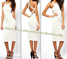 Womens Celebrity Club Casual Cross Strap Back Slim Fit Bodycon Midi Dress MEDIUM