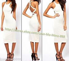 Women Celebrity Club Casual Strap Cross Open Back Slim Fit Bodycon Midi Dress XL