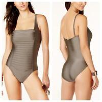 Calvin Klein Women's Ruched-panel One-piece Swimsuit brown ruched swimwear MK