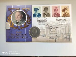 1999 125th Birth Anniversary of Winston Churchill - signed Timothy West + Crown