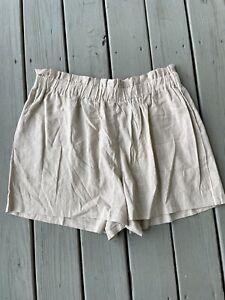 NEW Charlotte Russe Women's Size 3X Linen Blend Beige Shorts Pull On