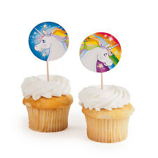 25 ROUND Unicorn Cake Cupcake Toppers MAGICAL FAIRYTALE Birthday Party Favors