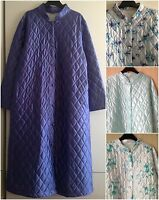 LADIES QUILTED BUTTON THROUGH DRESSING GOWN/ROBE UK SIZES 10-24