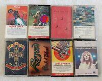 8 Cassette Tape Lot Hard Rock 70's 80's Poison, Rush, Judas Priest, Guns n Roses