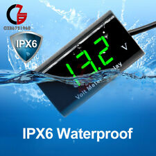 "IPX6 0.56"" Digita Tube 12V LED Voltmeter Waterproof AMP Volt Meter Green For Car"