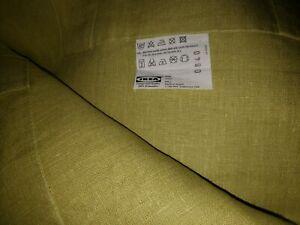 IKEA Aina Chartreuse Linen 2 NEW Curtain Panels(MultiShipg+$4)Drape Yellow Green