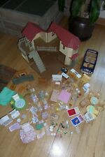 Huge Lot of Calico Critters Townhouse Cottage Doll Figures Furniture Accessories