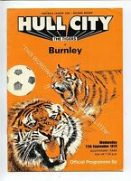 (Ga5231-469) Hull City vs Burnley League Cup 2nd Round 11/9/1974 VG