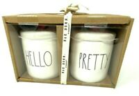 New Rae Dunn Hello And Pretty Canister Jar Set Red Heart Tops Valentines Day