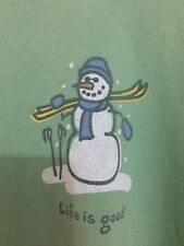"LIFE IS GOOD WOMEN`S GREEN ""Snowman"" t-shirt Sz L Long Sleeve"