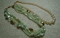 VINTAGE MULTI STRAND MINT GREEN & CREAM LUCITE FAUX PEARL BEADED NECKLACE LOT