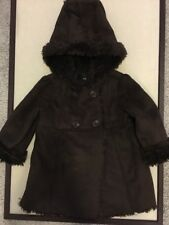 Babygap Toddler Girls Coat, Size 3T, Brown, Faux Suede, Faux Fur, Hooded